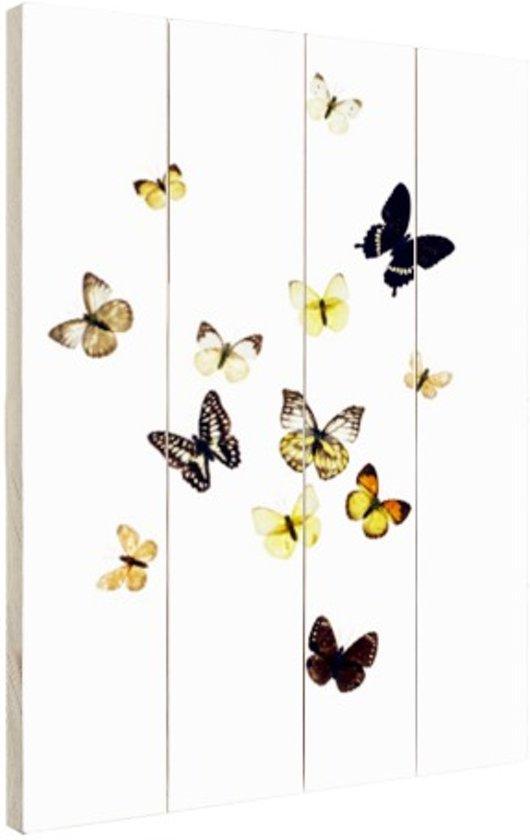 Vlinders op witte achtergrond Hout 60x80 cm - Foto print op Hout (Wanddecoratie)