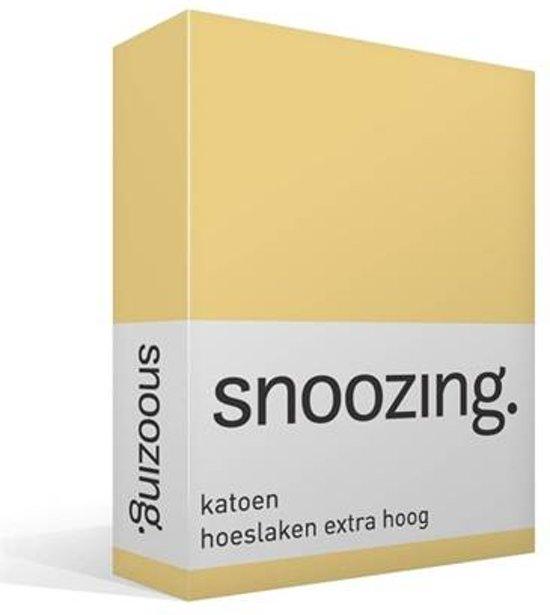 Snoozing - Katoen - Extra Hoog - Hoeslaken - Eenpersoons - 80x200 cm - Geel