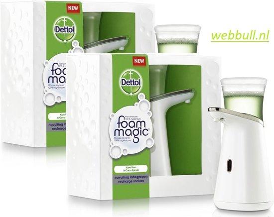 Dettol Zeepdispenser Zilver.2 X Dettol Foam Magic Automatische Zeepdispenser Starter Aloe Vera Navulling 200ml