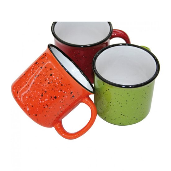 Kopjes emaille - Koffie kopjes - 3 stuks - Groen rood oranje - Mokken