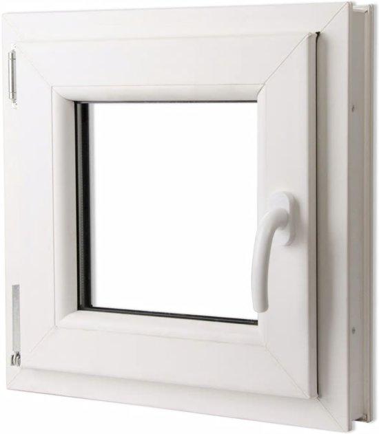 vidaXL Draaikiepraam van PVC met dubbel glas en handvat rechts 500 x 500 mm