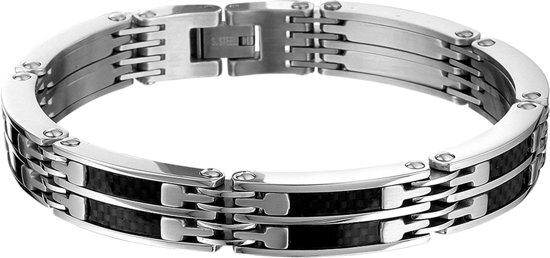 The Jewelry Collection For Men Armband Carbon 10 mm 21,5 cm - Staal