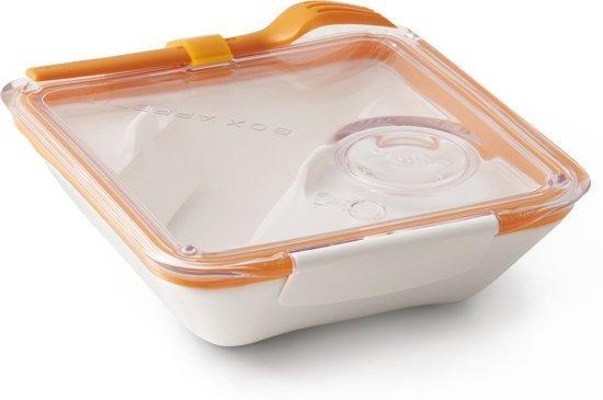 lunchbox vierkant wit - oranje