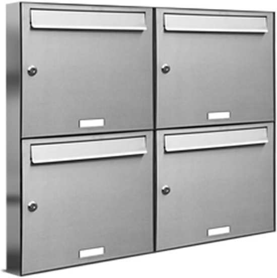 brievenbus 4 personen 2x2 adressen groot RVS