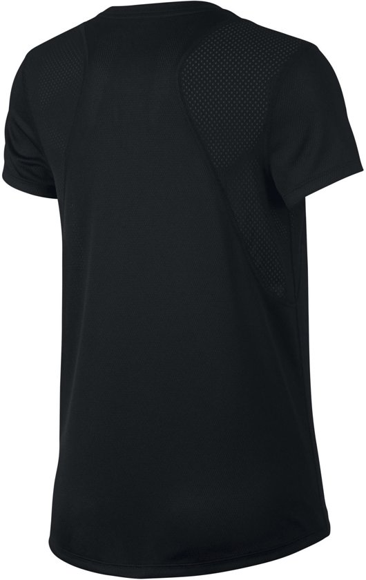 Nike Run Top Ss Sportshirt Dames - Black/Black/(Reflective Silv)