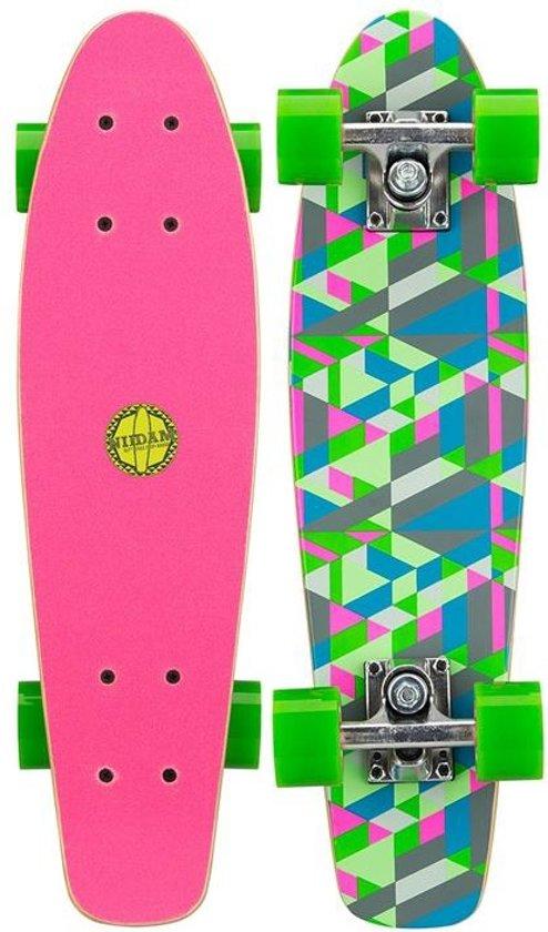 """Nijdam Houten Pennyboard 22.5"""" - Flipgrip-board - Fuchsia/Groen/Grijs"""