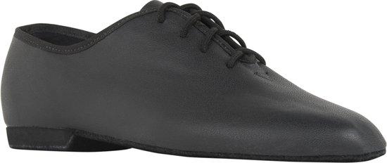 Dance-Schoenen Jazzschoenen 1260 Basic 1 leer, volledig zool, Zwart, Maat 39.5, UK 6