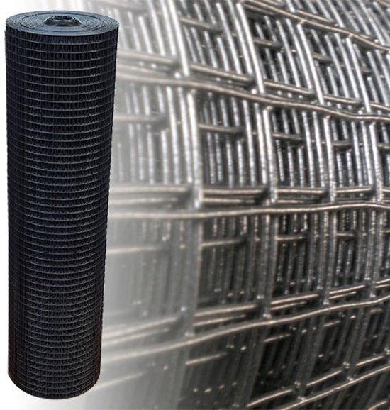 Volièregaas 25x25mm 1.2mm 100cm hoog 25m Rol Zwart