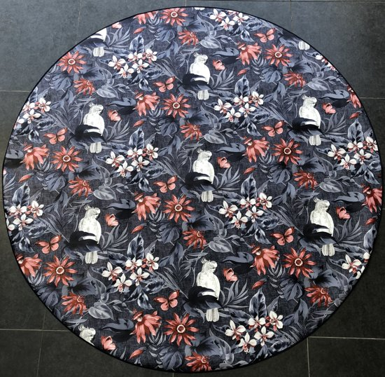 Home Trend Tafelzeil - Rond 160 cm - Grey/Red flowers