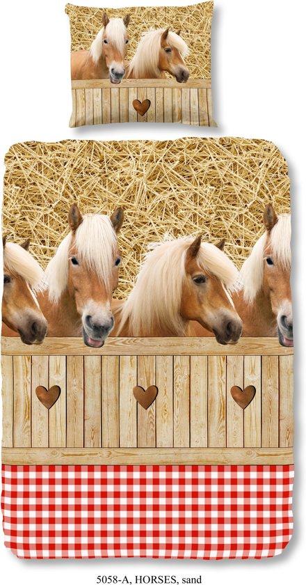 Good Morning 5058-A Paarden - kinderdekbedovertrek - 140x200/220 cm  - 100% katoen - zand