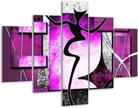 Glasschilderij Abstract | Paars, Zwart, Wit | 100x70cm 5Luik | Foto print op Glas |  F003455