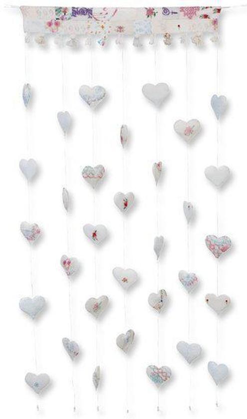 colorique hartjes kant en klaar decoratie gordijn ecru 80x180 cm per stuk