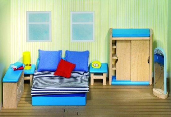 Bol.com goki houten poppenhuis moderne slaapkamer 14 delig goki