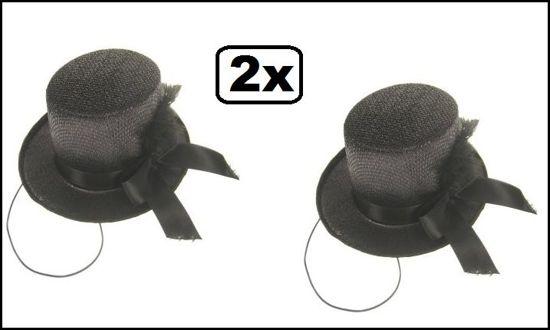 2x Midi hoge hoed glitter + deco zwart