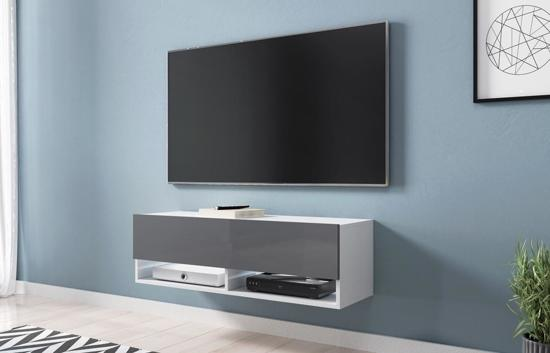 Hangende Tv Kast.Bol Com Hangend Tv Meubel Wander Smal Model Body Wit Front