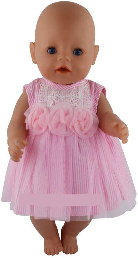 Poppenkleding - Roze jurkje met streepjes en roosjes - Voor pop tot 43 CM zoals Baby born