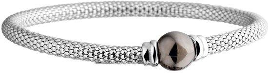 Silventi 910471446 Zilveren Rekarmband - Grijs Bal - 3,5 mm/ 17,5 cm - Zilverkleurig
