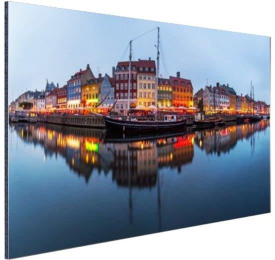 Nyhavn in schemering Aluminium 120x80 cm - Foto print op Aluminium (metaal wanddecoratie)