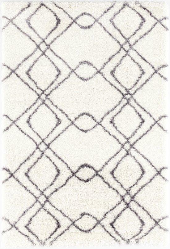Design Hoogpolig vloerkleed Pearl - Wit / Grijs - 80 x 150 cm