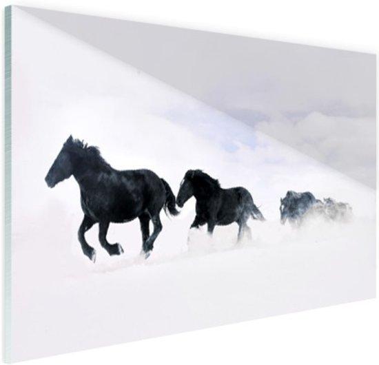 Zwarte paarden in de sneeuw Glas 60x40 cm - Foto print op Glas (Plexiglas wanddecoratie)