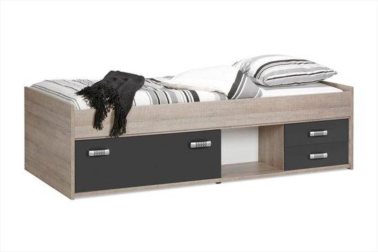 Kinderbed Met Extra Bed.Beter Bed Basic Kinderbed Pep 90x200cm Eiken Antraciet