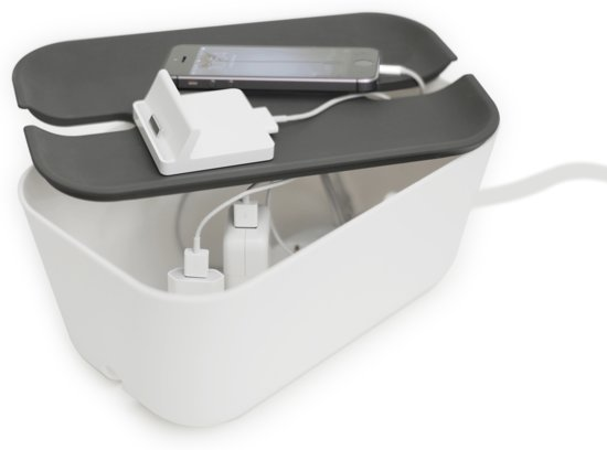 Bosign kabelbox, kabelorganizer, opbergbox stekkerdoos, kabelmanagement, snoeren wegwerken, wit/donker grijs - medium 30x18x13.8 cm