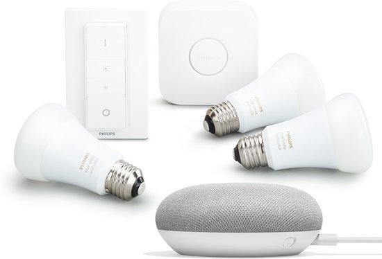 Philips Hue Starterkit - Inclusief Google Home Mini – E27 – Bundel