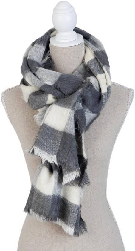 Clayre & Eef SJ0684 - Sjaal - 40 x 200 cm - synthetisch - grijs