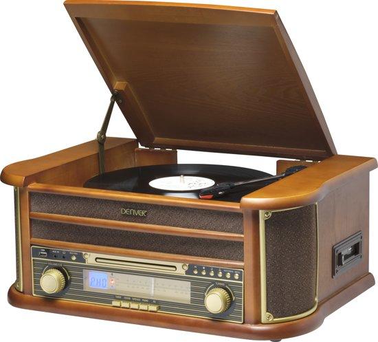Denver MCR-50 R - Platenspeler met FM radio, CD en cassette - Bruin