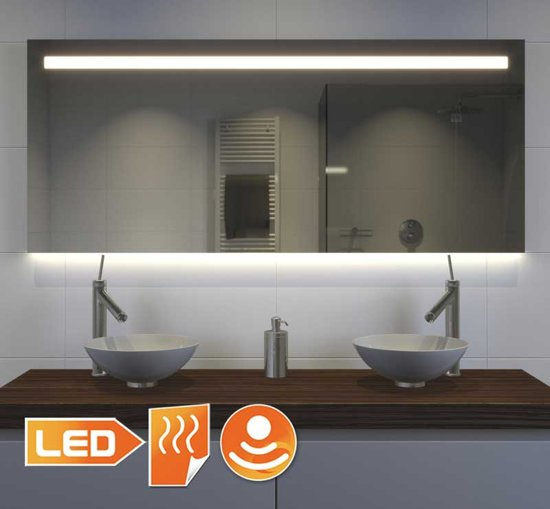 brede badkamerspiegel met hi power led