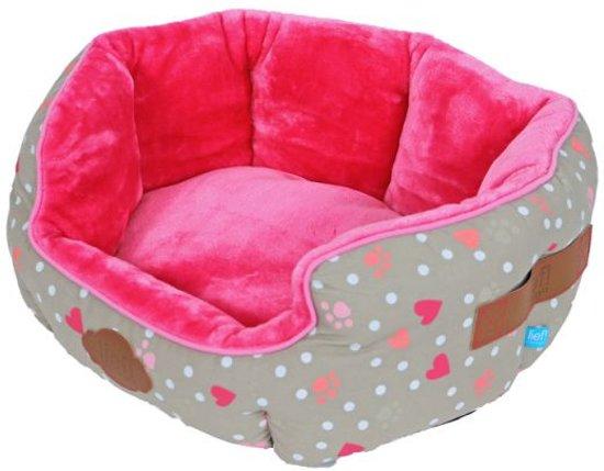 Lief! hondenmand ovaal girls beige / roze 50 cm