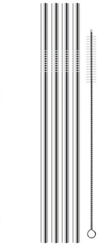 Herbruikbare stalen rietjes (4 stuks) – Incl. Schoonmaakborstel - zilverkleur