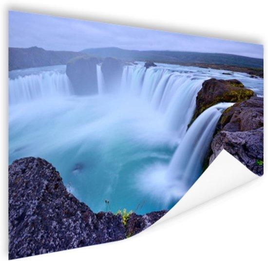 Een grote ronde waterval in IJsland Poster 120x80 cm - Foto print op Poster (wanddecoratie woonkamer / slaapkamer)