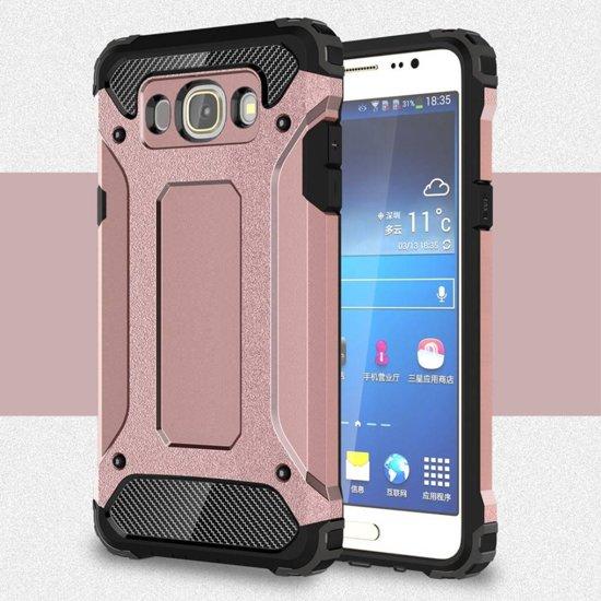 GSMWise - Samsung Galaxy J7 (2016) Stevig Hybride Beschermhoesje met Aluminium Backcover Shockproof - Rose Goud in De Kliuw / De Klieuw