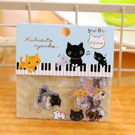 Kat Cat Illustratie Kawaii Seal Bits Stickers Klein 80 stuks B