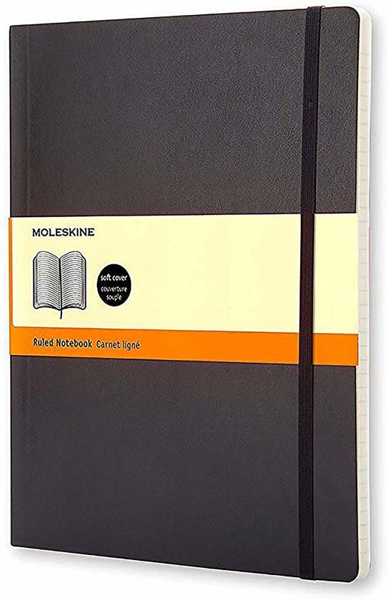 Moleskine Classic Notebook, Extra Large,  Ruled, Black, Soft Cover