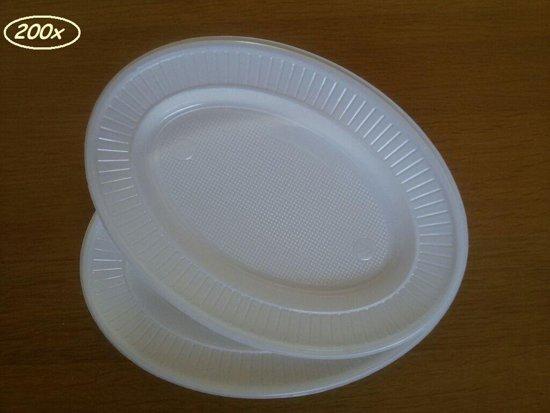 Wegwerp Servies - Bordjes - Ovaal - Wit - 22cm - 200 stuks