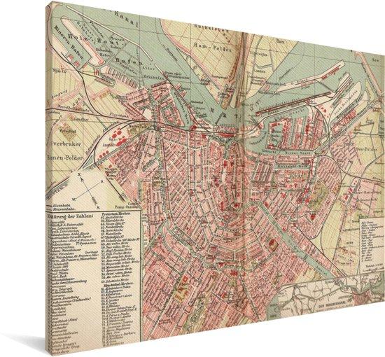 Historische stadskaart van de hoofdstad Amsterdam Canvas - Plattegrond 30x20 cm - klein - Foto print op Canvas schilderij (Wanddecoratie woonkamer / slaapkamer)