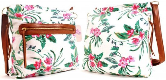 Nicole Brown TROPICAL FLOWERS Omhang Schoudertas Trendy Canvas Tas
