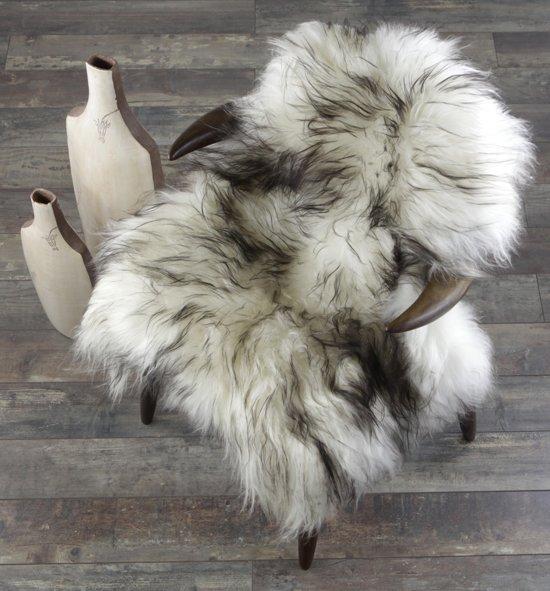 Schapenvachtje - IJslandse Schapenvacht  Gemêleerd WIT ZWART - Vloerkleed Zeer Lang Natuurlijk Haar – Ivory Dark Tops - 110 x 70 cm - 100% ECHT