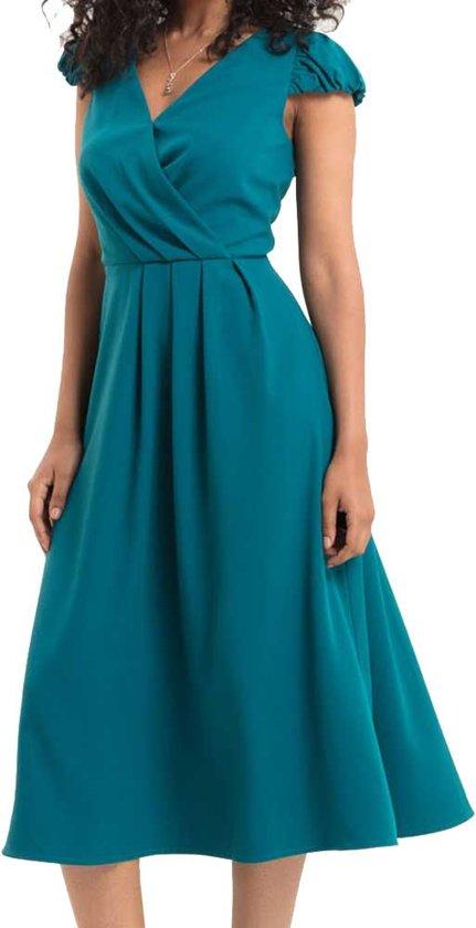 Alexa jurk met geplooid detail blauw - S - Voodoo Vixen