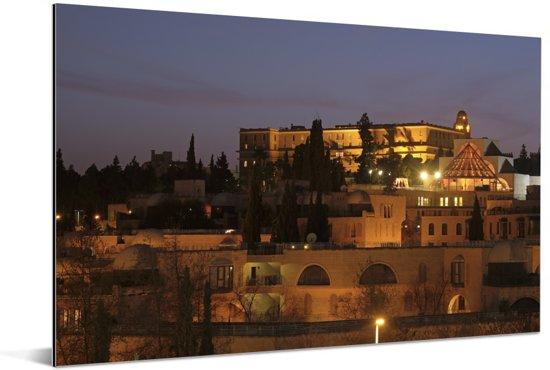 Verlichte huizen in de stad Jeruzalem in Azië Aluminium 120x80 cm - Foto print op Aluminium (metaal wanddecoratie)