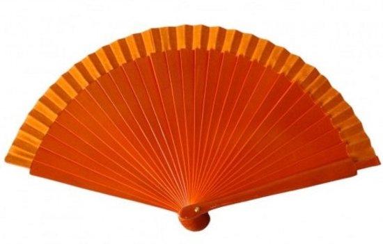 Spaanse waaier - Flamenco - oranje hout - bij jurk verkleedkleding