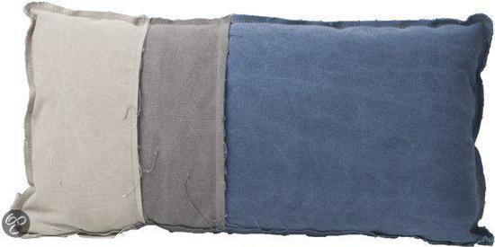 ... Zuiver Vintage Pillow Rectangle - Sierkussen - 60x30 cm - Blauw/Grijs