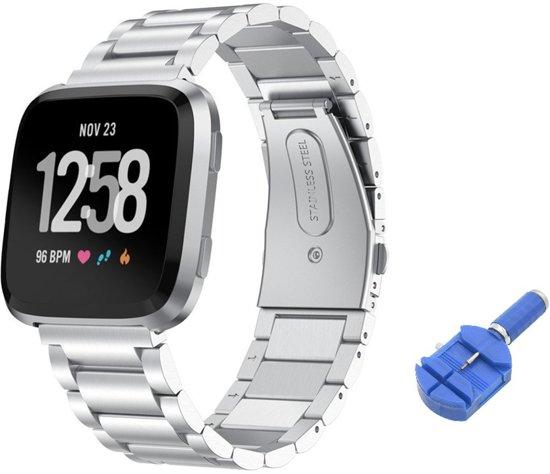 Metalen Armband Voor Fitbit Versa 1/2 & Lite Horloge Band Strap - iWatch Schakel Polsband RVS - Inclusief Inkortset - Zilver Kleurig