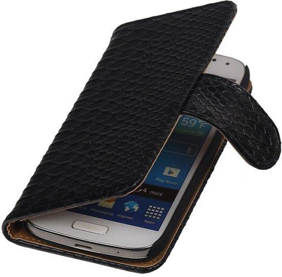 Zwart slang bookcase Samsung Galaxy S4 Mini VE wallet hoesje in Tourpes