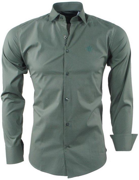 Heren Slimfit Overhemd Ferlucci Napoli Army RBqnnSxW