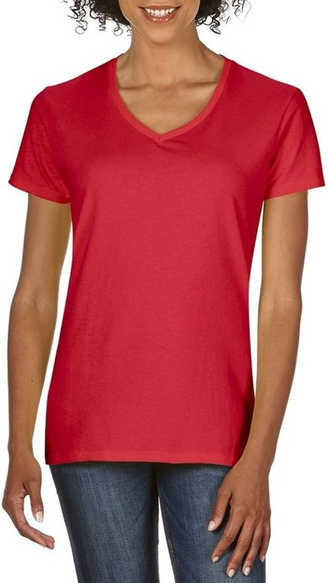 Basic V-hals t-shirt rood voor dames - Casual shirts - Dameskleding t-shirt rood XL (42/54)