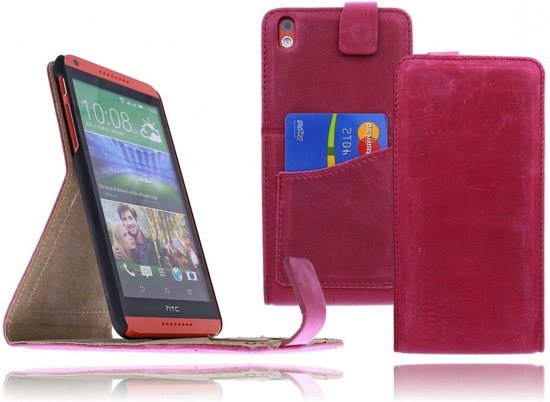 Devills HTC Desire 816 Lederen Flip Case Cover Hoesje Light Roze in Koedijk