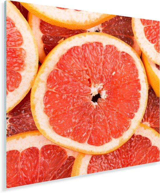 Close up van plakjes grapefruit Plexiglas 50x50 cm - Foto print op Glas (Plexiglas wanddecoratie)